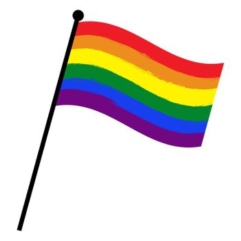 Lgbt waving flag. Gay and lesbian vector symbol. Official pride sign in rainbow colors. Great for tolerance banner or love freedom design. Illustration isolated on white.