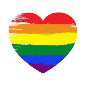 Pride heart. Lgbt symbol in rainbow colors. Vector illustration isolated on white background. Gay and lesbian sign.