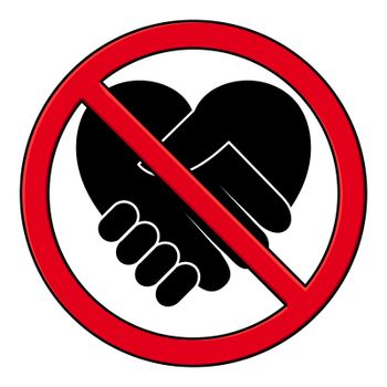 Handshake forbidden pictogram. Black icon of hand shake in red no sign.
