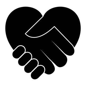 Handshake icon. Charity day concept. Black silhouette isolated on white.