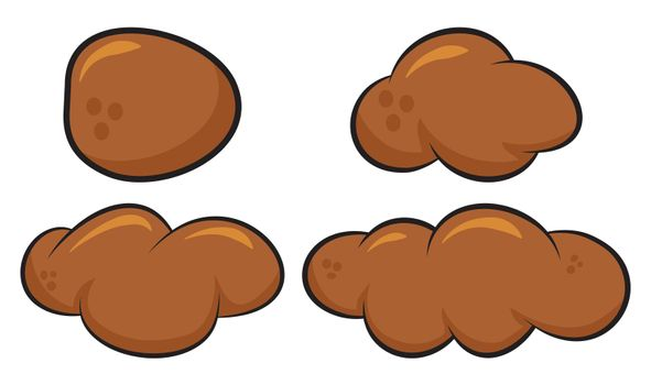 Poo, poop faeces set. Human or animal stool set. Vector cartoon illustration isolated on white. background.