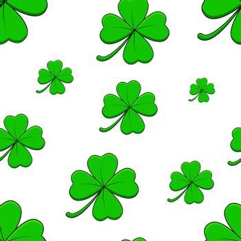 Clover with four leaf background. Seamless pattern with shamrock symbol. Great for saint patrick day design. Vector illustration on white.
