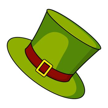 Hat icon for st patrick day. Green cylinder - sybol of irish holiday. Vector cartoon illustration isolated on white background.