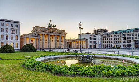 The famous Brandenburg Gate in Berlin after sunset
