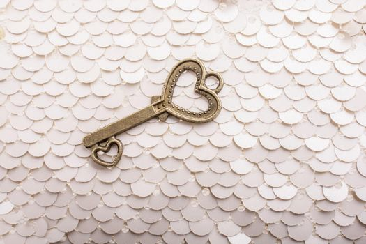 Heart shaped retro metal key on bright background