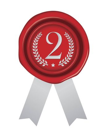 Sealing wax illustration / number, ranking (2nd place/silver)