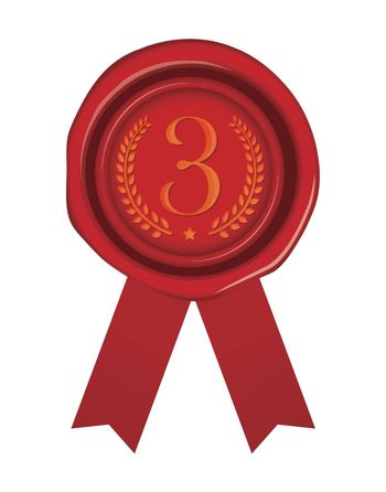 Sealing wax illustration / number, ranking (3rd place/bronze)