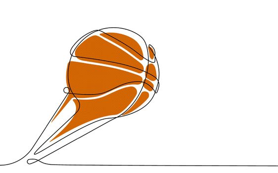 basketball ball in one continuous line. Team sports, active lifestyle. Background for sports competitions. Vector