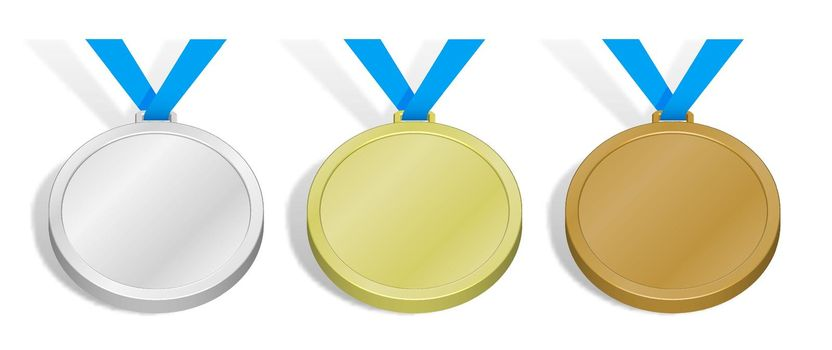 set of sports medals. Templates, layouts for sports design decoration. Gold, silver and bronze award with blue ribbon. 3d vector
