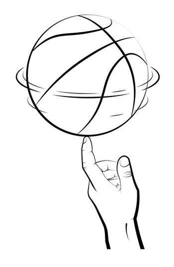 man hand of athlete spins basketball ball on index finger. Team sports. Tricks. Active lifestyle. Black and white vector