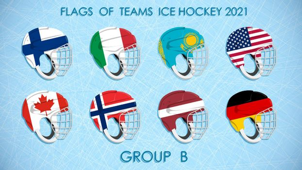 ice hockey competition teams flags 2021 on on helmets on ice background. Group B. Announcement of participants of competition. Vector