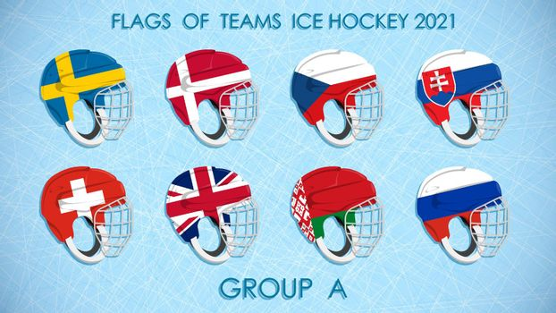 ice hockey competition teams flags 2021 on on helmets. Group A. Hockey standings on ice background. Announcement of participants of competition. Vector