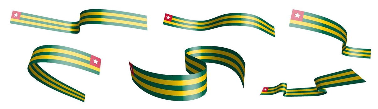 Set of holiday ribbons. Flag of Togolese Republic flag waving in wind. Separation into lower and upper layers. Design element. Vector on white background