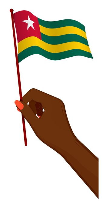 Female hand gently holds small flag of Togolese Republic. Holiday design element. Cartoon vector on white background