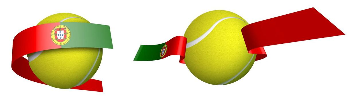 sports tennis ball in ribbons with colors of Portugal flag. Isolated vector on white background