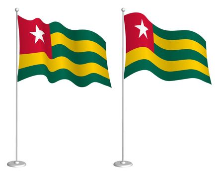 flag of Togolese Republic on flagpole waving in wind. Holiday design element. Checkpoint for map symbols. Isolated vector on white background