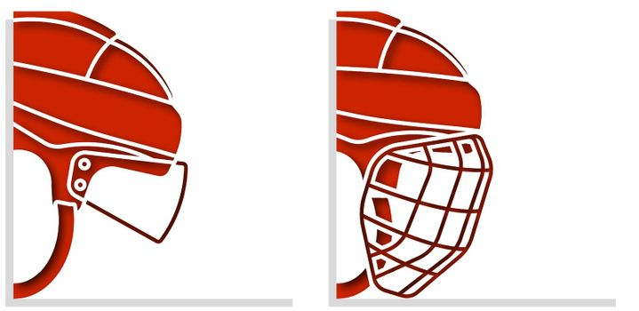 ice hockey helmets with protective grill and transparent visor on white background. Sports competition templates. Vector