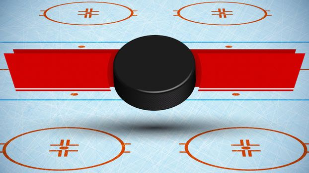 template for tournament with ice hockey puck on background of sport ice rink with ribbons for announcement of names of teams. Vector