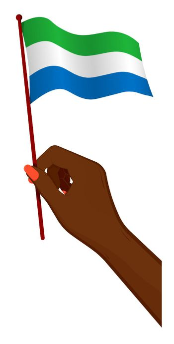 Female hand gently holds small flag of Republic of Sierra Leone. Holiday design element. Cartoon vector on white background