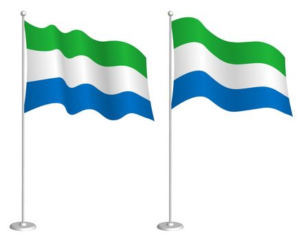 flag of Republic of Sierra Leone on flagpole waving in wind. Holiday design element. Checkpoint for map symbols. Isolated vector on white background