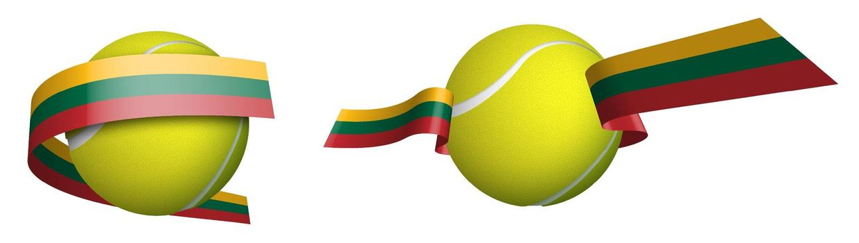 sports tennis ball in ribbons with colors of Lithuania flag. Isolated vector on white background