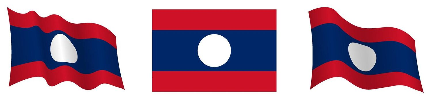flag Lao People Democratic Republic in static position and in motion, fluttering in wind in exact colors and sizes, on white background