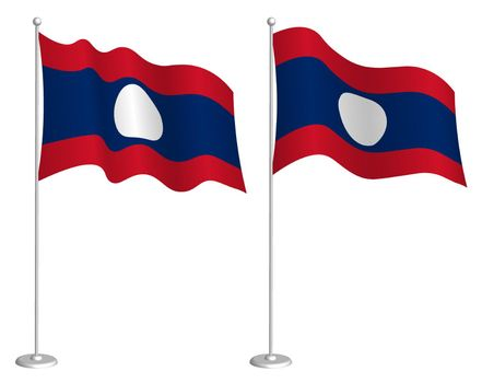 flag Lao People Democratic Republic on flagpole waving in wind. Holiday design element. Checkpoint for map symbols. Isolated vector on white background