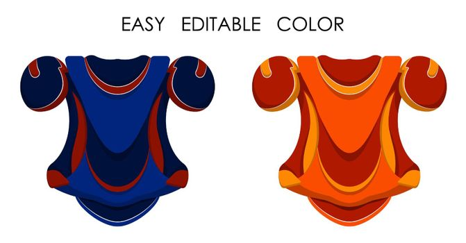 Ice hockey player chest protector in flat style. Shoulder and chest protection for upper body. Team sports. Healthy lifestyle. Vector