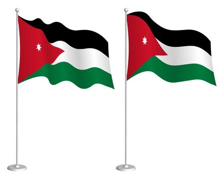 flag of Jordan on flagpole waving in wind. Holiday design element. Checkpoint for map symbols. Isolated vector on white background
