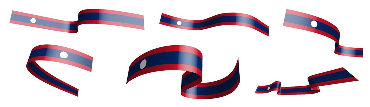 Set of holiday ribbons. Flag Lao People Democratic Republic waving in wind. Separation into lower and upper layers. Design element. Vector on white background