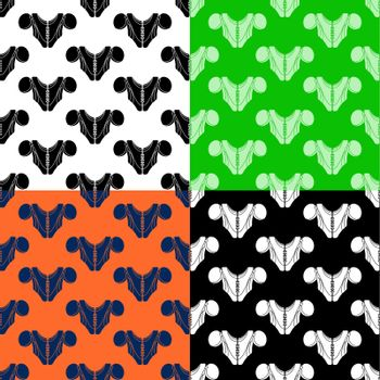 set of seamless patterns with American football player chest protector. Shoulder and chest protection for upper body. Ornament for decoration and printing on fabric. Design element. Vector