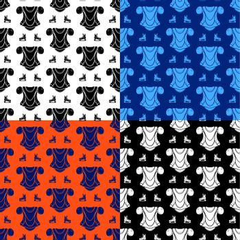 set of seamless patterns with ice hockey player protective equipment. Shoulder and chest protection for upper body. Ornament for decoration and printing on fabric. Design element. Vector
