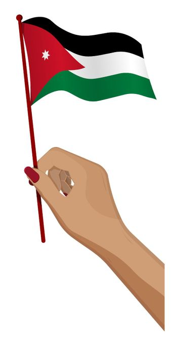 Female hand gently holds small flag of Jordan. Holiday design element. Cartoon vector on white background