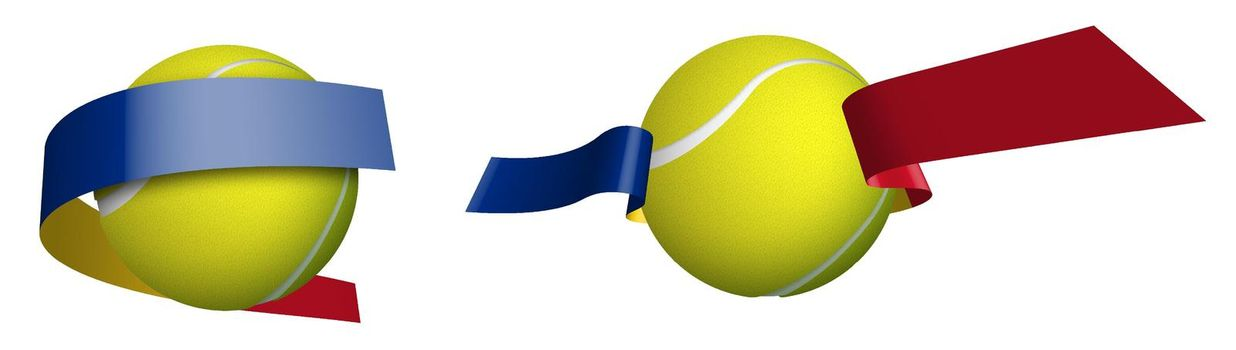 sports tennis ball in ribbons with colors of Romania flag. Isolated vector on white background