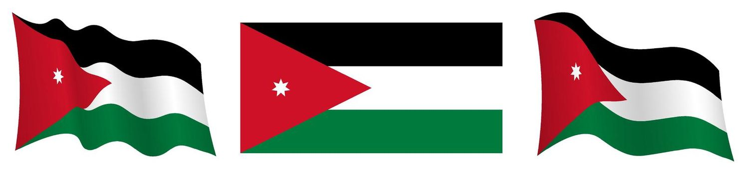flag of Jordan in static position and in motion, fluttering in wind in exact colors and sizes, on white background
