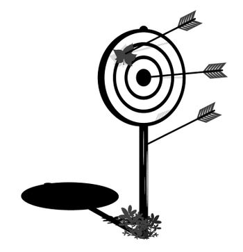 arrows for hunting bow stick out of target. Accurate arrow hitting the target. Achieving goal in business. Monochrome vector illustration