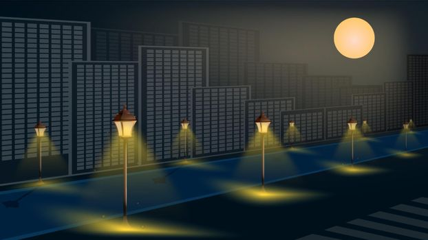 street lights on night alley in big city. Night romance of metropolis. Bright full moon in sky. Cartoon vector illustration