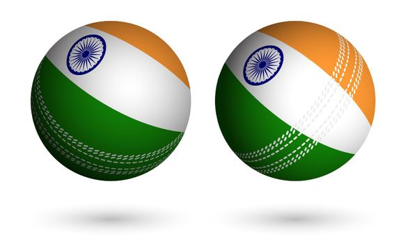 cricket ball in realistic style in colors of flag of india. Summer team sports. 3d vector on white background