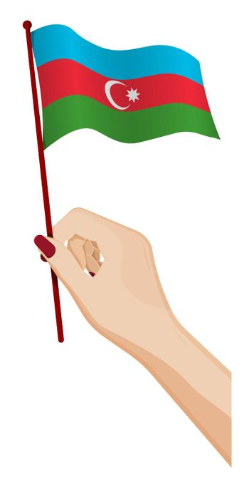 Female hand gently holds small flag of Azerbaijan. Holiday design element. Cartoon vector on white background