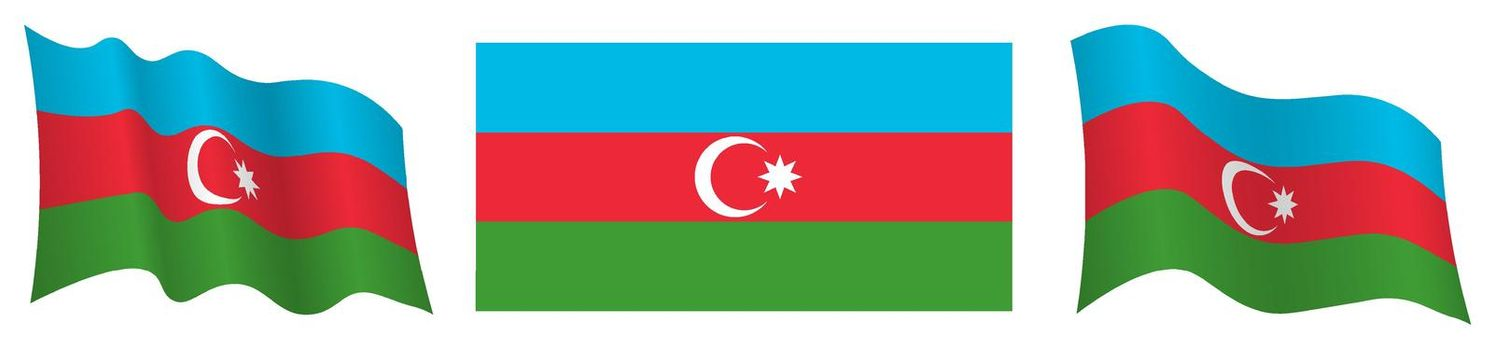 flag of Azerbaijan in static position and in motion, fluttering in wind in exact colors and sizes, on white background