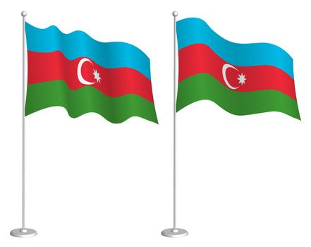 flag of Azerbaijan on flagpole waving in wind. Holiday design element. Checkpoint for map symbols. Isolated vector on white background