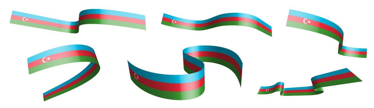 Set of holiday ribbons. Flag of Azerbaijan waving in wind. Separation into lower and upper layers. Design element. Vector on white background