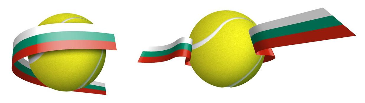 sports tennis ball in ribbons with colors of Bulgaria flag. Isolated vector on white background