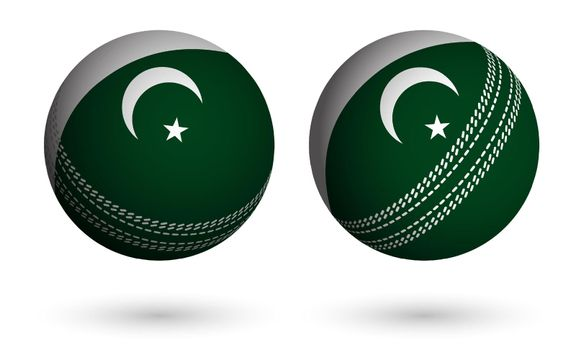 cricket ball in realistic style in colors of flag of Islamic Republic of Pakistan. Summer team sports. Vector on white background