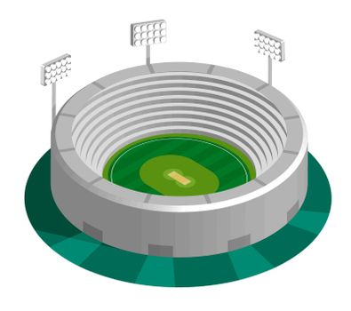green cricket field in isometric view with spectator stands at sports stadium. Outdoor cricket court. Sports ground for active recreation. Vector
