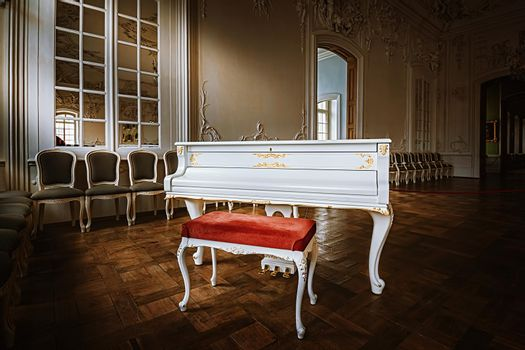 Grand piano in The White Hall of Rundale Palace
