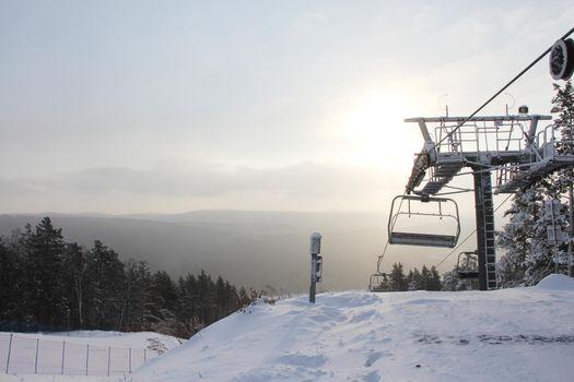 Ski resort Mratkino in winter view on chair lift