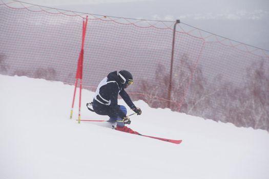 Alpine ski race skier gate