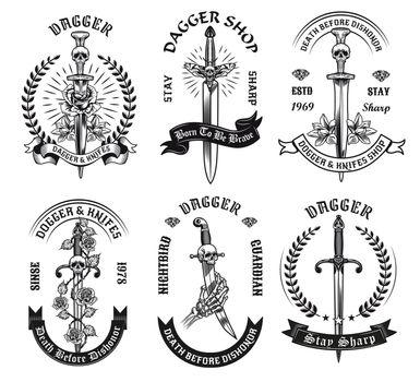 Dagger tattoo templates set
