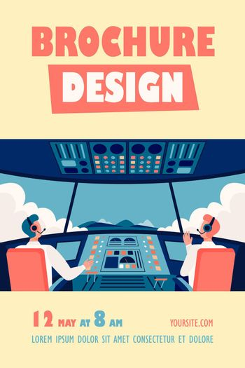 Colorful airplane cockpit isolated flat vector illustration